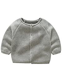 LJYH Toddler Boy's Girl's Crew Neck Cardigan Kids Knitted Sweater