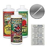 Fox Farm Liquid Nutrient Trio Soil Formula: Big Bloom, Grow Big, Tiger Bloom (Pack of 3 - 32 oz. bottles) 1 Quart Each + Twin Canaries Chart & Pipette