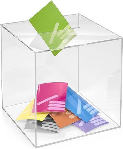 Kit Box Votaciones/300 x 300 x 300 mm transparente, cristal acrílico/Dona Caja/ranura Caja/sorteo parte Caja/urna/acrílico: Amazon.es: Oficina y papelería
