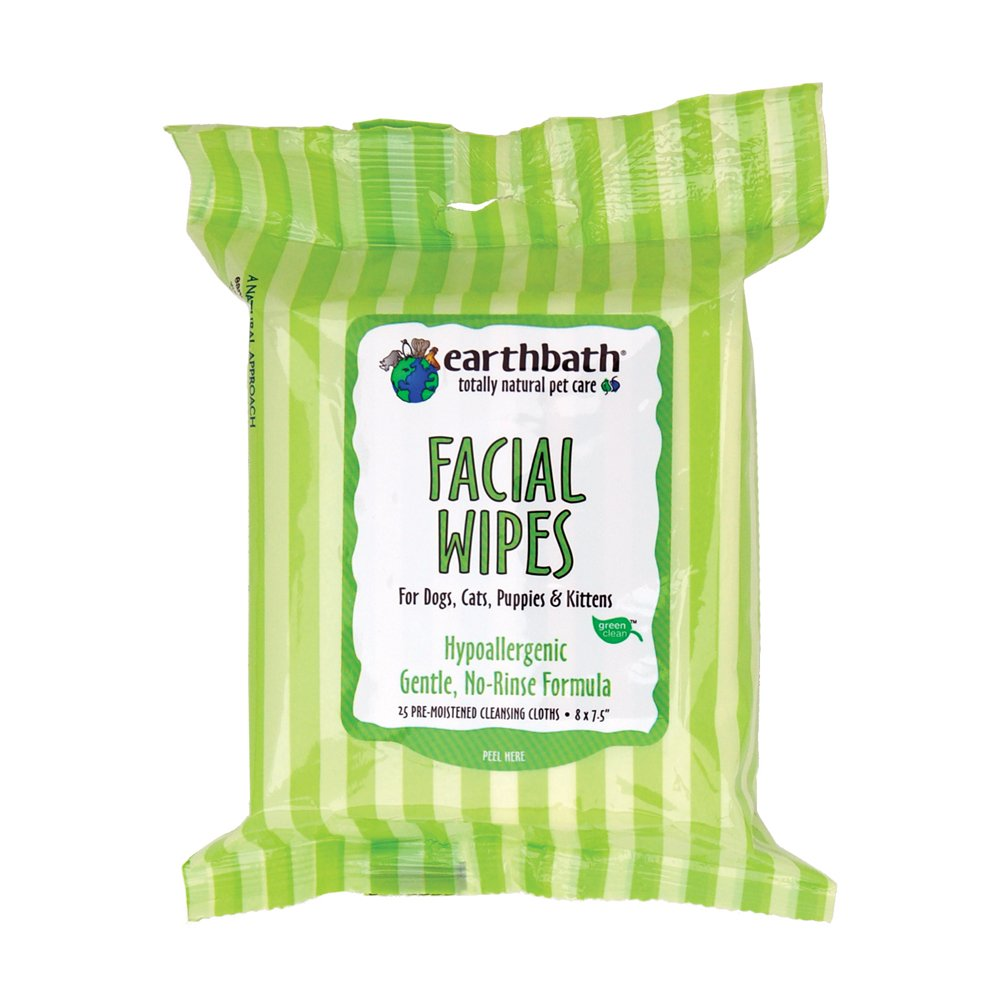 Earthbath Facial Wipes Pouch for Dogs, Cats, Puppies and Kittens (2 Pack), 25 Wipes