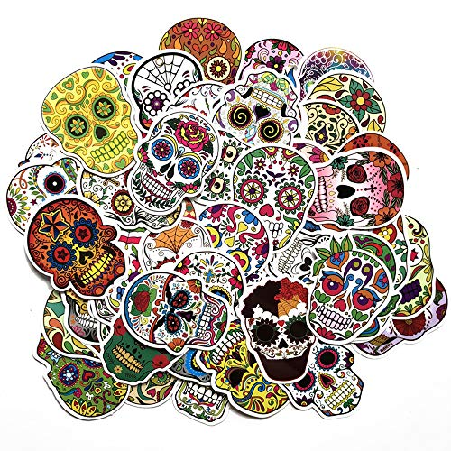 LIN LANG Sugar Skull Stickers Pack 60pcs Laptop Skull Decals Dia de Los Muertos Mexican Day of The Dead Sticker Bomb Water Bottle Luggage Bike Computer Skateboard Vinyl Decal Pack
