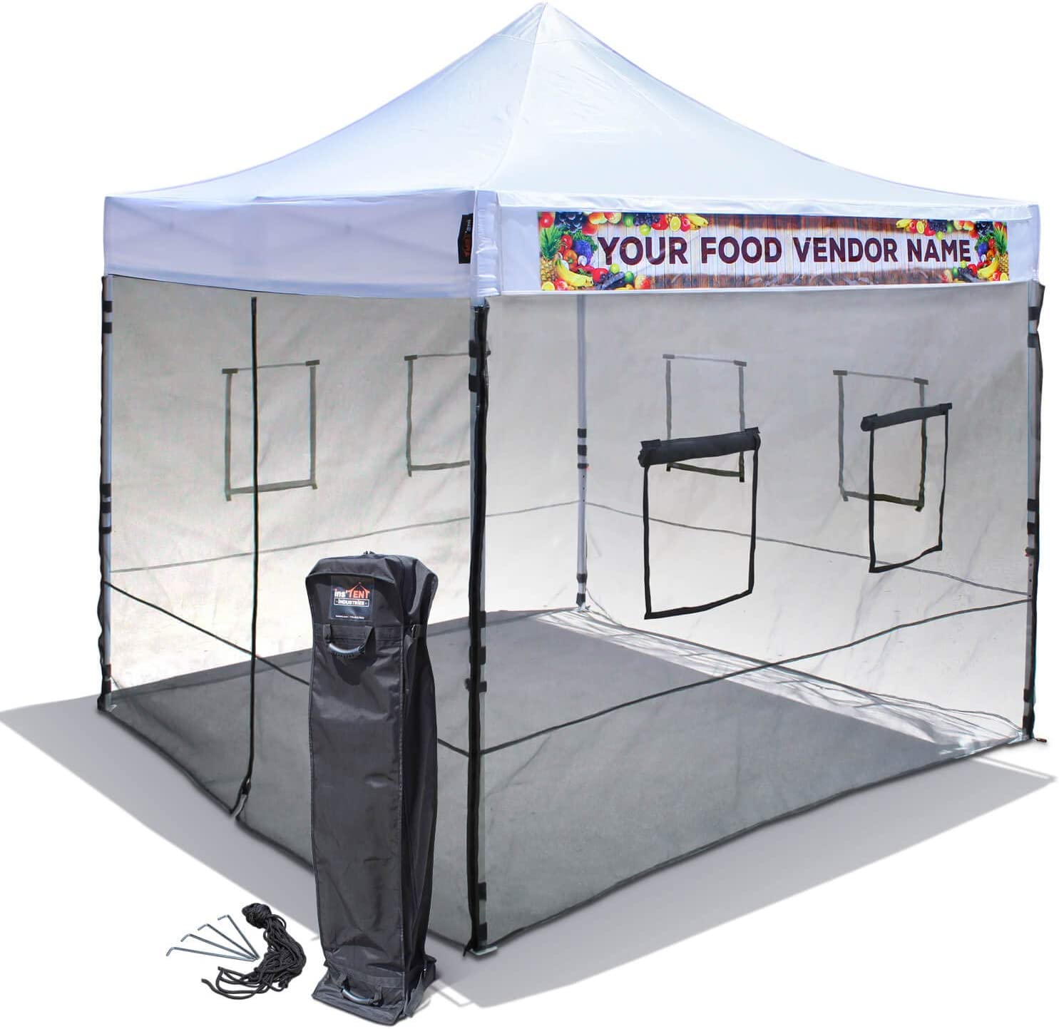 10'x10' Food Vendor Canopy Tent with Mesh Wall Set