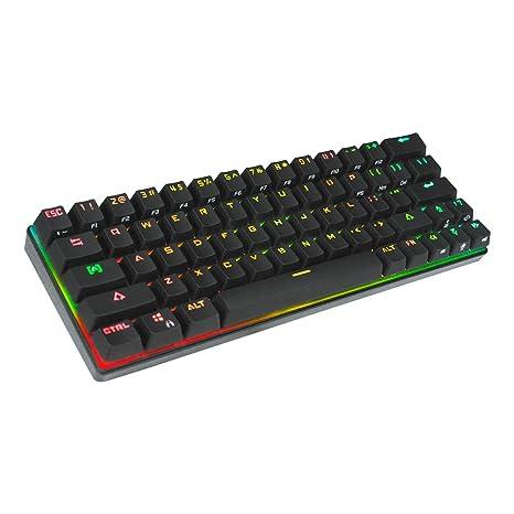 Teclado mecánico RGB 63 teclas Bluetooth 4.0, retroiluminación LED Teclado de computadora con cable USB