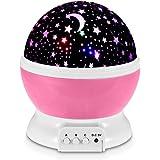 REDLEMON Lámpara Proyector de Estrellas Giratorias para Habitación de Niños y Bebés, con Luz LED de 7 Colores y 3 Modos de Iluminación. Star Master. ROSA