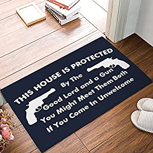 This House Is Protected - Good Lord And A Gun Sign Doormats Entrance Front Door Rug Outdoors/Indoor/Bathroom/Kitchen/Bedroom/Entryway Floor Mats,Non-Slip Rubber,Low-Profile