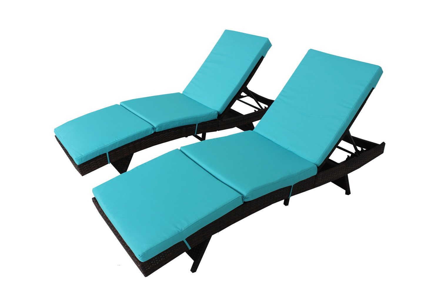 Patio Furniture Chair Patio Brown PE Rattan Wicker Adjustable Backrest Cushioned Outdoor Chaise Lounge Chair(Turquoise Cushions,Set of 2)
