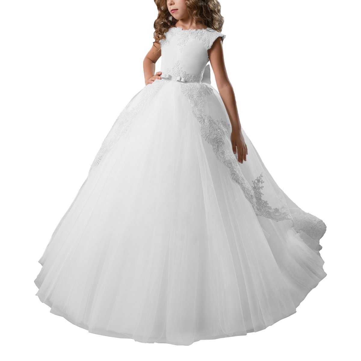 AbaoSisters Flower Girl Dress Fancy Tulle Satin Lace Cap Sleeves Pageant Girls Ball Gown White Ivory JJL007