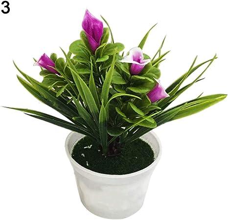 RIsxffp Plantas Artificiales en Maceta Flor Artificial Bonsai Etapa Jardín Boda decoración del Partido del hogar Accesorios(1 Unid) Purple: Amazon.es: Hogar