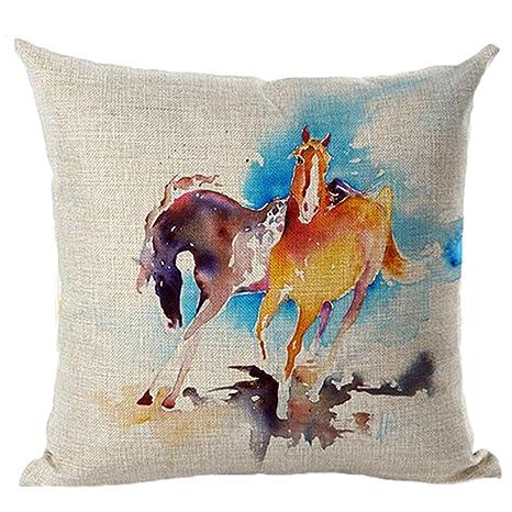 Amesii 18 Inch Watercolor caballo sofá cojín, Fashion Funda ...