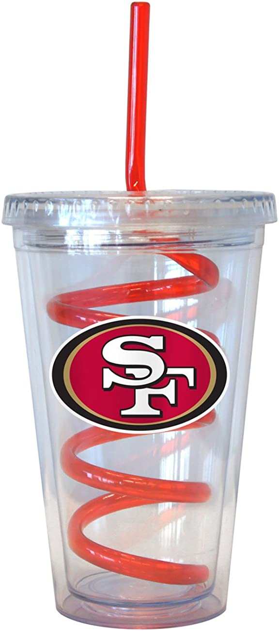 NFL San Francisco 49ers Tumbler with Swirl Straw, 16-ounce