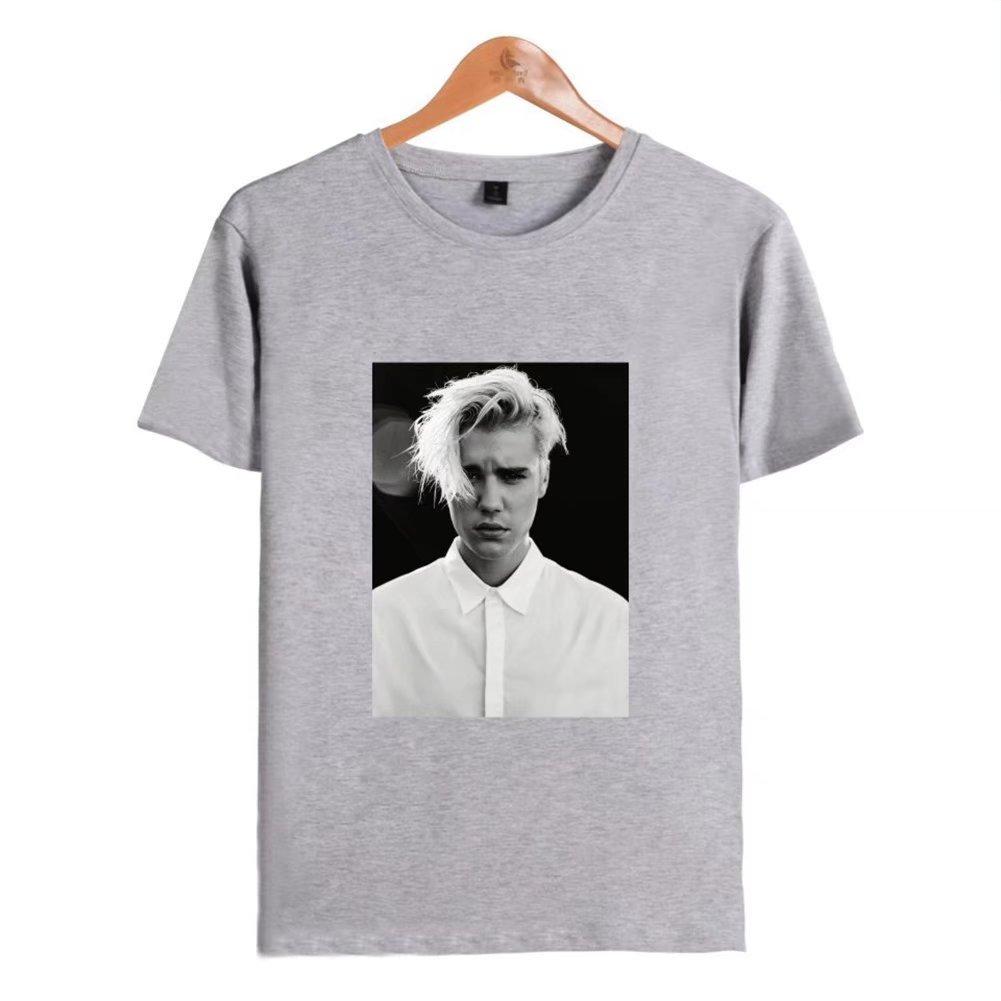 Discovery Justin Bieber T-Shirt Imprimé à Manches Courtes Et Col Rond en Coton