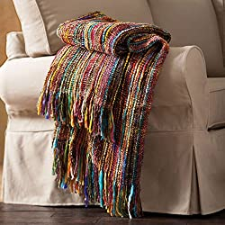 "ART & ARTIFACT Chunky Knit Throw Blanket - Bright Colors Striped Fringe - 48"" X 70"""