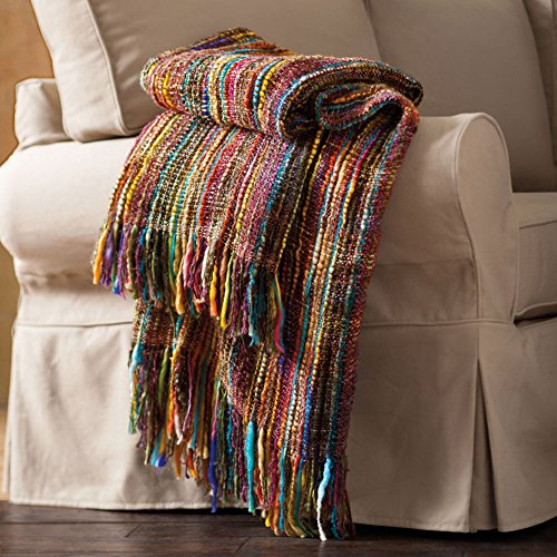 ART & ARTIFACT Chunky Knit Throw Blanket - Bright Colors Striped Fringe - 48