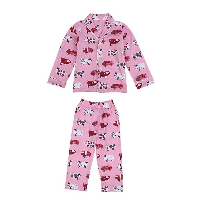 Amazon.com: Juego de pijama de dibujos animados rosa con ...