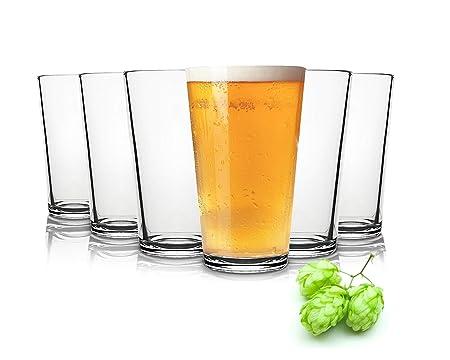 Tivoli Liverpool Vasos de Cerveza - 490 ML - Conjunto de 6 - Gafas Lavavajillas - Vasos de Cristal