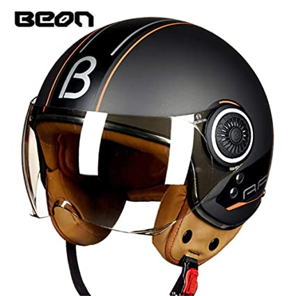 Amazon.com: Loyasun Motorcycle Helmet Chopper 3/4 Open Face Vintage Moto Men and Women Scooter Motorbike: Sports & Outdoors