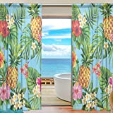 Cooper girl Pineapple Palm Leaves and Flower Window Curtain Sheer Panels 55″x78″ for Living Room Bathroom Bedroom Window Decor Two Panels Set For Sale