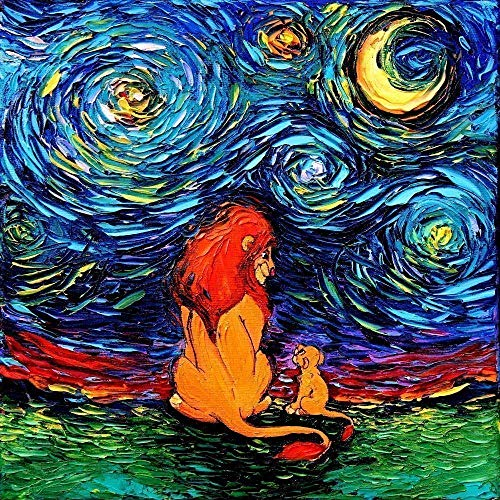 King of Lions Art Father Son Art Poster PRINT Starry Night van Gogh Never Saw The Sahara Artwork by Aja choose size and type of paper