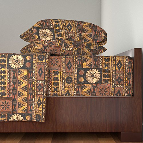 Roostery Tropical 3pc Sheet Set Fijian Tapa 1A by Muhlenkott Twin Sheet Set made with by Roostery