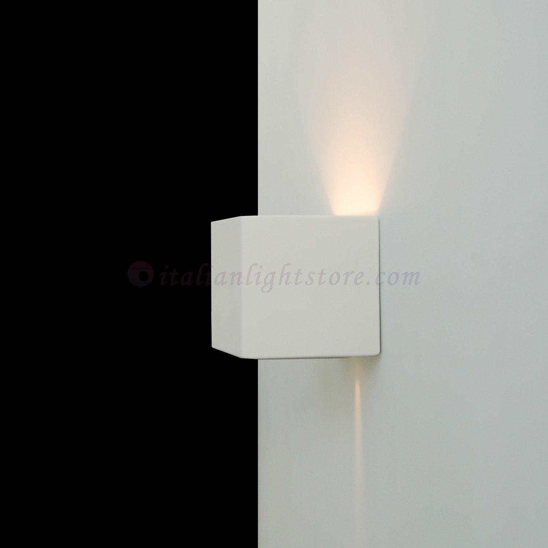 applique lampada a parete mini cubetto decorabile in ceramica ... - Faretti Gesso Prezzo