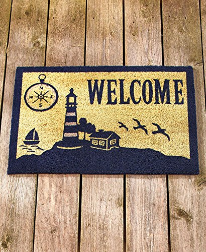 Coastal lighthouse coir welcome mat doormat front entry for Welcome home front door mats