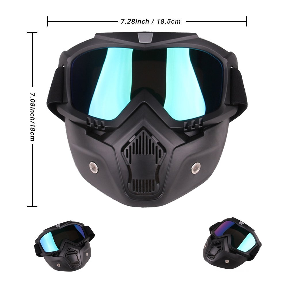 PiscatorZone Goggles Mask Tactical Goggles with Detachable Face Mask for Cycling Skiing Outdoor CS Paintball (Colorful) by PiscatorZone