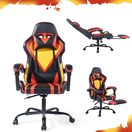 CozyCasa Ergonomic PC Gaming Chair Reclining Office Computer Chair High Back Racing PU Leather Executive Chairs with Wheels Lumbar Support Headrest Armrest Footrest in Black Red Yellow