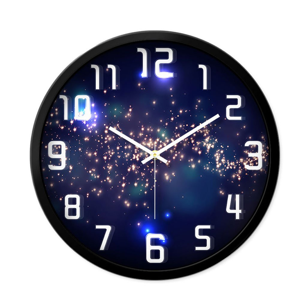 リビングルームクリエイティブファッション装飾時計ベッドルームミュートラウンドモダンパーソナリティファッションシンプルなガラスクォーツ時計の腕時計 (サイズ さいず : L l) B07CYZJHWQL l