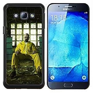 Qstar Arte & diseño plástico duro Fundas Cover Cubre Hard Case Cover para Samsung Galaxy A8 A8000 (Blanca Breaking Meth)