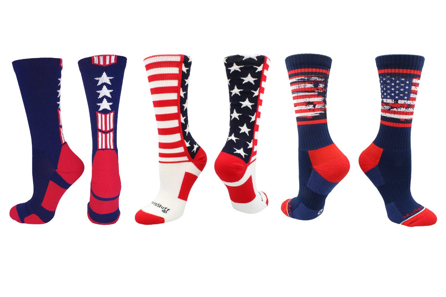 MadSportsStuff Stars and Stripes USA Socks Gift Pack Crew Length (USA 3 Pack, Small)