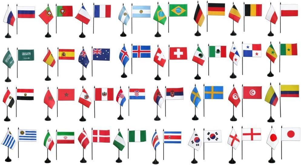 Digni Kit banderas de mesa fútbol 2018, Mini banderines – 10 x 15 cm sticker gratis: Amazon.es: Jardín