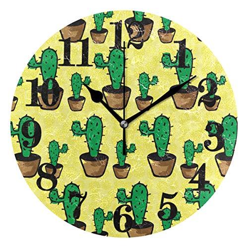 Senuu Classic Desert Cacti Cactus Round Wall Clock Non Ticking Battery Operated Quartz Clocks Decor for Home Living Room Bedroom Office -