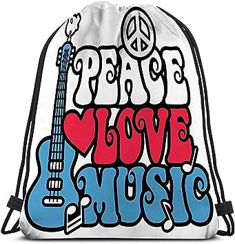 Bolso con cordón Paz Amor Música Estilo Retro Tipo Símbolo ...