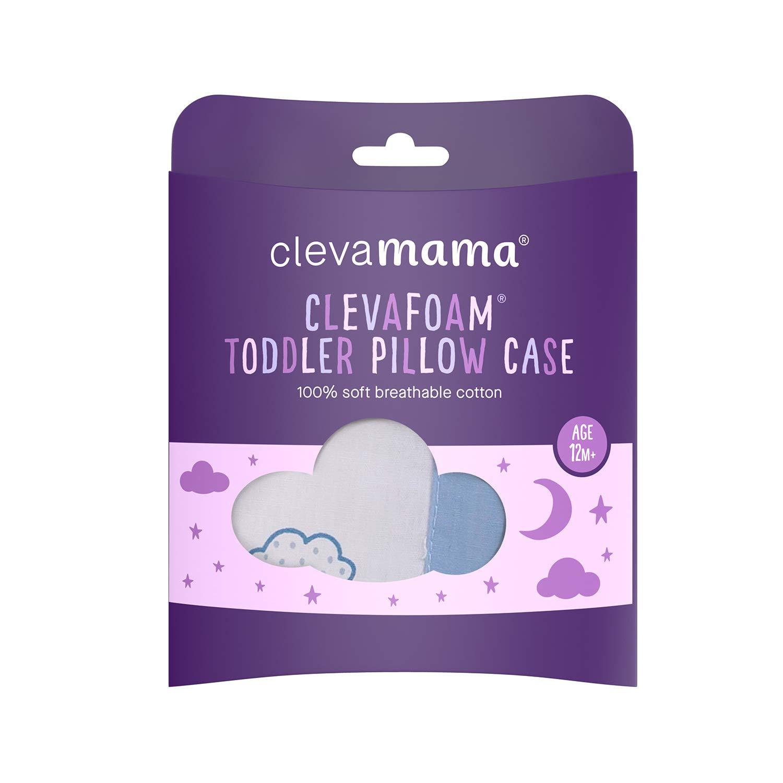 100/% Cotton Blue Clevamama Clevafoam Toddler Pillow Case