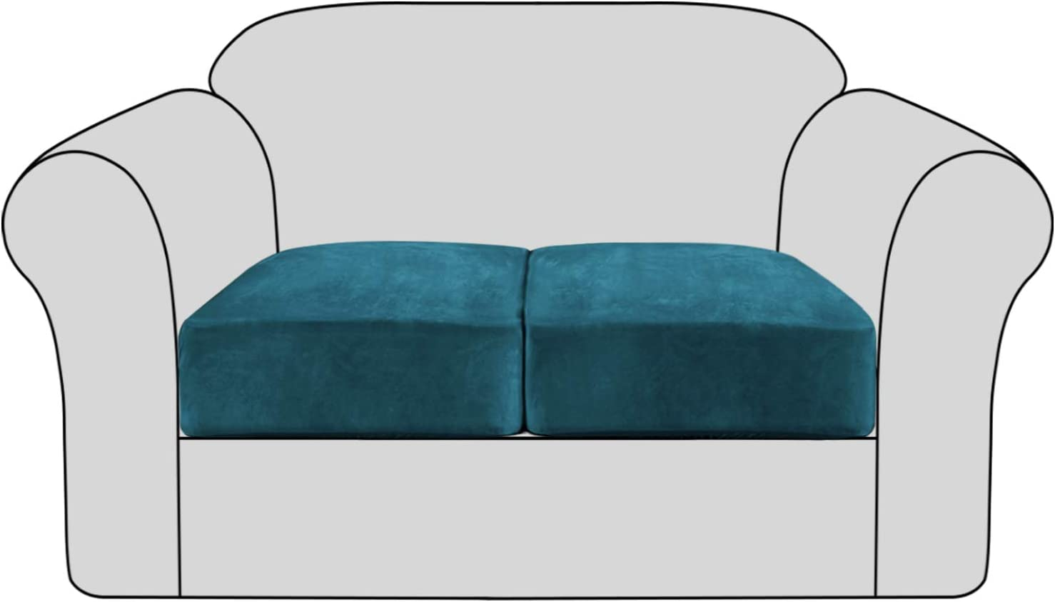Velvet Stretch Couch Cushion Cover Plush Cushion Slipcover for Chair Loveseat Sofa Cushion Furniture Protector Seat Cushion Sofa Cover with Elastic Bottom Washable (2 Packs, Deep Teal)