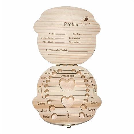 Botokon Caja de madera para guardar dientes de leche para bebé ...