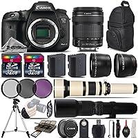 Canon EOS 7D Mark II DSLR Camera + Canon 18-135mm IS STM Lens + 650-1300mm Telephoto Lens + 500mm preset Zoom Lens + 0.43X Wide Angle Lens + 2.2x Telephoto Lens + 64GB - International Version