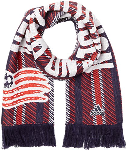 adidas MLS New England Revolution Jacquard Scarf with Block Name, One Size, Navy