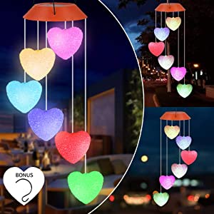 ecoeco Solar Heart Wind Chimes, Wind Chimes Changing Colors Outdoor Waterproof Mobile Romantic LED Solar Wind Chimes Lights for Valentines Gift, Home, Yard, Night Garden, Party, Festival Decor