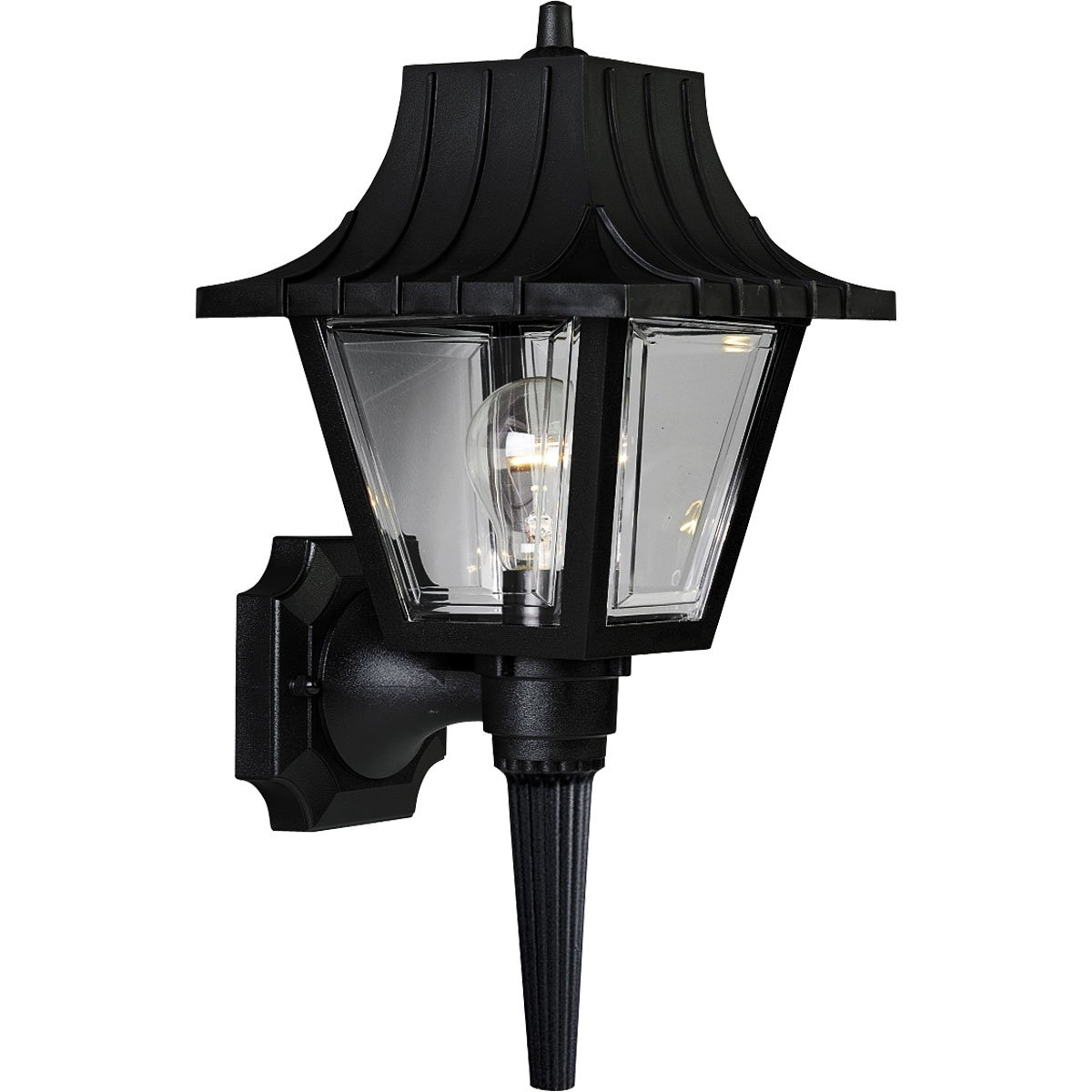 Progress Lighting P5815-31 Wall Torch with Ribbed Mansard Roof Beveled Clear Acrylic Panels, Black