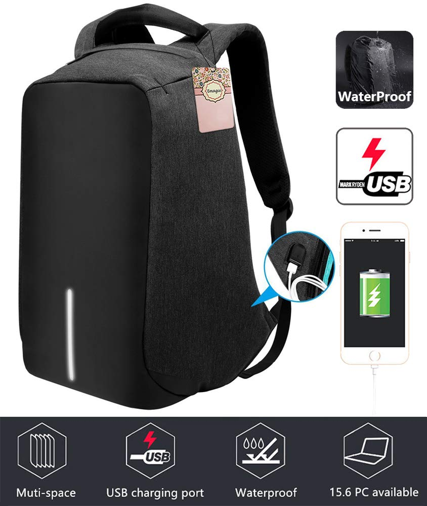 Anti-Theft Business Laptop Backpack with USB Charging Port Shockproof Waterproof Travel Book School Bag for College Student Work Men & Women-Black hongchan