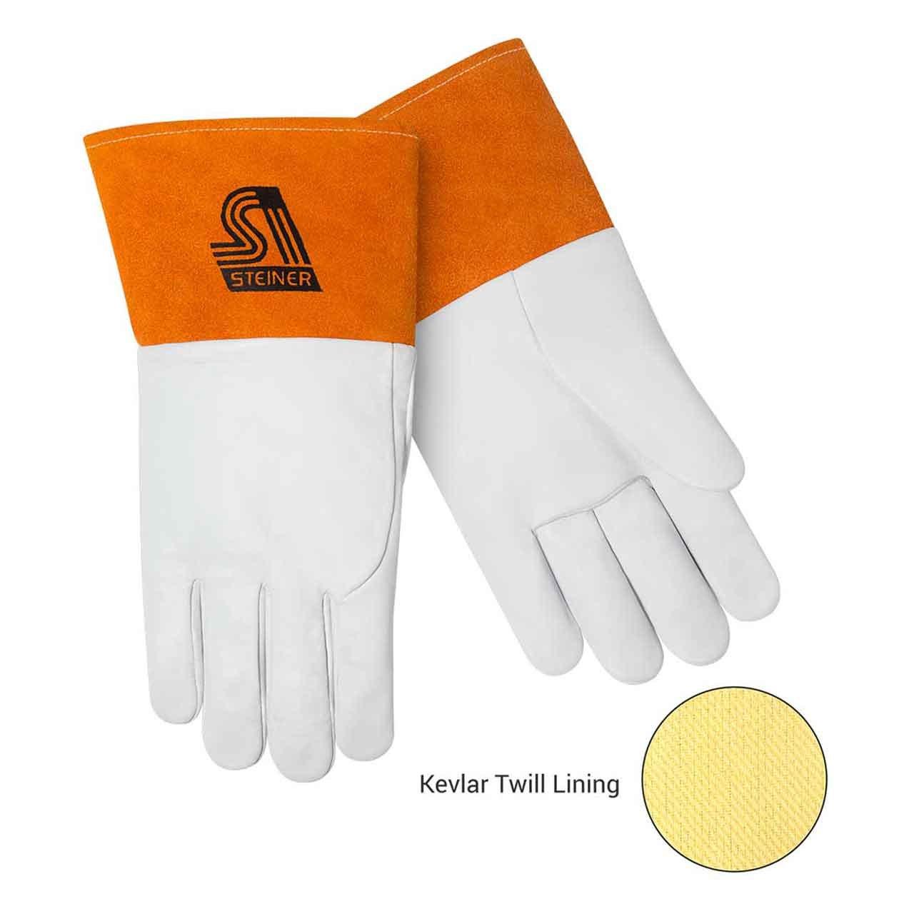 Steiner 0224K-X Kevlar Lined SensiTIG Premium Grain Kidskin TIG Welding Gloves with Long Cuff, Tan, X-Large