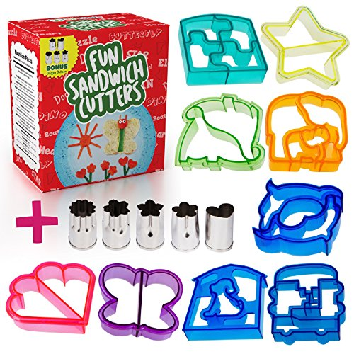 ad Cutter Shapes for kids - 9 Crust & Cookie Cutters - PLUS 5 FREE Mini Heart & Flower Stainless Steel Vegetable & Fruit Stamp Set - Loved by both Boys & Girls alike! (Mini Car Shape)