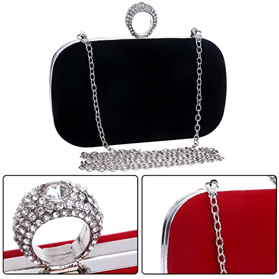 Amazon.com: Shoulder Womens Evening Bags Clutches Purse Chain Key Dress Handbags Lipstick Bridal Black: Clothing