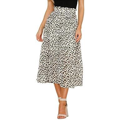 Midi Faldas para Mujer Estampado Leopardo Cintura Alta Falda ...