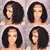 Women Kinky Curly Black Wig Lace Front Ship from US Wavy Bob Hairpiece Natural Full Wig Breathable Wig Cup for Costume...