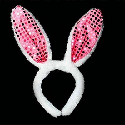 LED Light Up Flashing Sequin Bunny Ears - Various Styles (Pink): Toys & Games