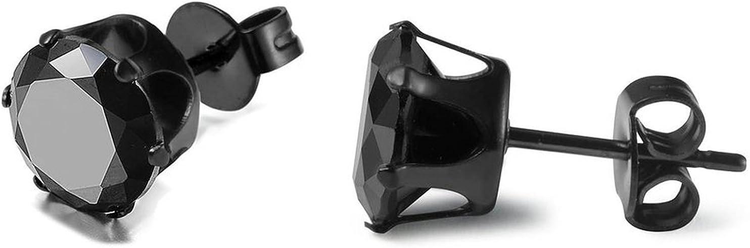 JewelryWe Men Womens Hypoallergenic Stainless Steel Round Black Cubic Zirconia Piercing Stud Earrings 3mm-8mm