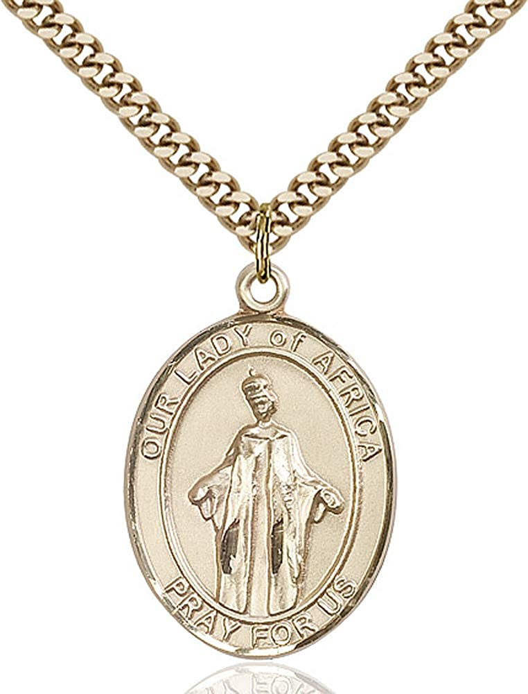 14kt Gold Filled O//L of Africa Pendant Gold Plate Heavy Curb Chain Patron Saint Africa 1 x 3//4