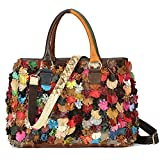 Sibalasi--Luxury Flower Patchwork Sheepskin Leather Handbag Multicolor Tote Colorblock Shoulder Bag